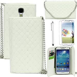 Caseland Fashion Hand-held Design Shaped Grid Soft Leather Case With 1 Chain For Samsung Galaxy S4 I9500 With 1 Protector Screen And 1 Stylus (white)