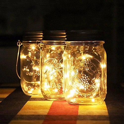 Kanzd Solar Energy Wall Lamp Mason Cap Lamp LED Lights String Party Wedding Decoration (Yellow)