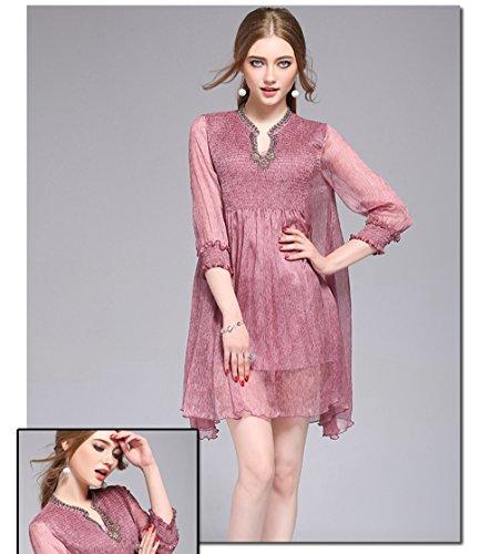 Women`s Cotylédons 2 Robes De Pièce V Cou Manches 3/4 Irrégularité Robe Couleur Unie Rose