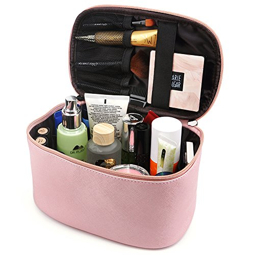Cosmetic Bag,365park Travel Cosmetics MakeUp Case Organizer Bag with Brush Holder(Z005/Pink)