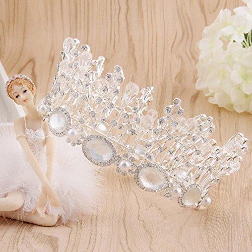 Court Tiaras - Generic Crystal round super bright Flashing diamond bridal crown tiara tiara court retro European princess married Wang Guan wedding Hair Accessories