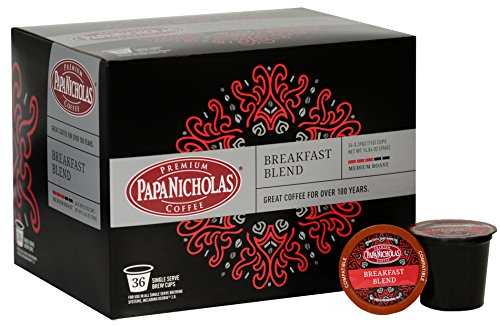 PapaNicholas Breakfast Blend Single Serve Coffee Cups, Fits Keurig K Cup Brewers, Box of 36 (03361) by PapaNicholas