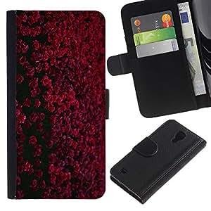 [Neutron-Star] Modelo colorido cuero de la carpeta del tirón del caso cubierta piel Holster Funda protecció Para Samsung Galaxy S4 IV I9500 [Rojo granate Negro Flores de campo]