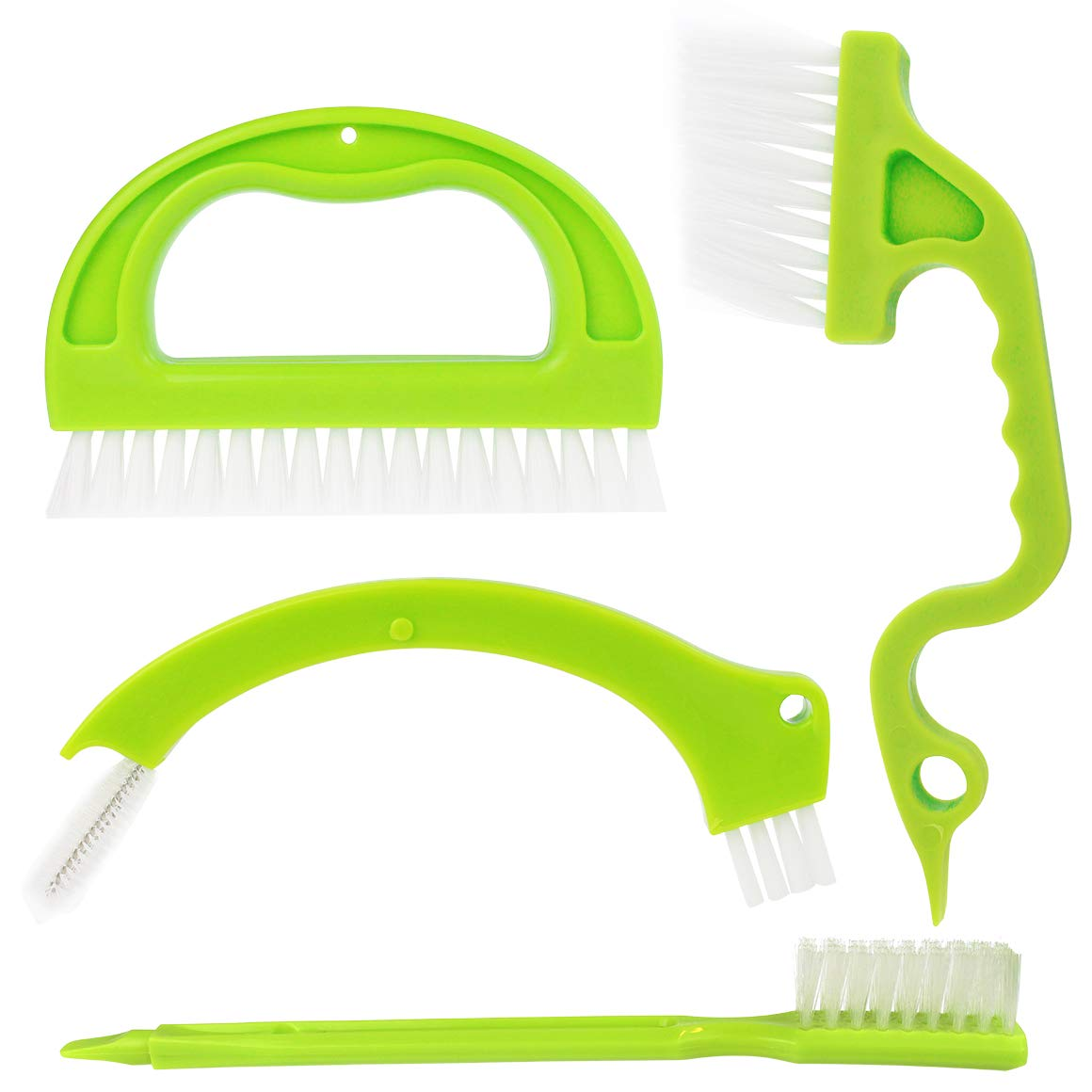 4 pcs Grout Cleaner Brush,cnomg Tile Joint Scrubber Brush with Nylon Bristles Great Use for Deep Cleaning Bathroom, Kitchen and Household Green