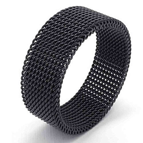 Woven Leaf Ring (AnaZoz Jewelry Black Woven Mesh Band 8MM Stainless Steel Screen Mens Womens Ring Size 12)