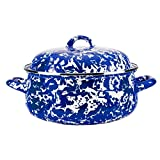 Enamelware -Colbalt Blue Swirl Pattern - 4 Quart Dutch Oven