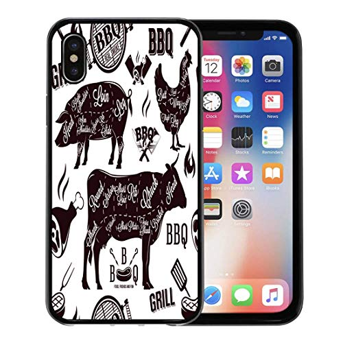 Semtomn Phone Case for Apple iPhone Xs case,BBQ Meat Cuts and Barbecue Beef Cow Butcher Brisket Organic for iPhone X Case,Rubber Border Protective Case,Black