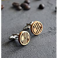 Personalized Monogram Gift Wooden Cufflinks Engraved Custom Cuff links Business Man Gift for Guy Men Anniversary Husband gift for Boss - By Enjoy The Wood - Wedding cufflinks for groom