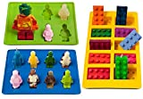 Youdepot Yellow Building Brick & Blue & Green Multi-size Minifigure Silicone Ice Tray
