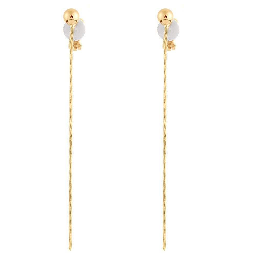 Simple Long Tassel Clip on Dangle Earring Clips for non Pierced Gold Plated Fashion Jewelry for Women