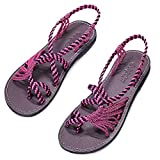 Everelax Women's Flat Sandals Black Pink 9B(M) US