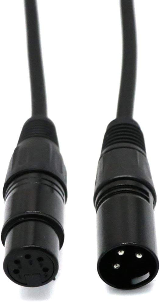 Jessicadaphne 6-Inch Xlr 5-Pin Female To 3-Pin Male Turnaround Dmx Adapter Cable