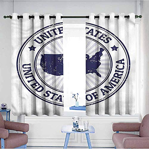Mdxizc Sliding Curtains USA Map Federal National Symbol Durable W72 xL45 Suitable for Bedroom,Living,Room,Study, etc. (Style Federal Curtains)