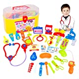 Qiyun 30 Pcs Doctor Nurse Medical Kit Children Role-Playing Doctor Toy Suit with Carrying Case for Boys and Girls