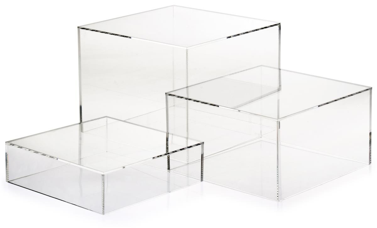 Set of 3- Acrylic Cube Display Nesting Risers, Hollow Bottoms (White, Transparent by Displays2go
