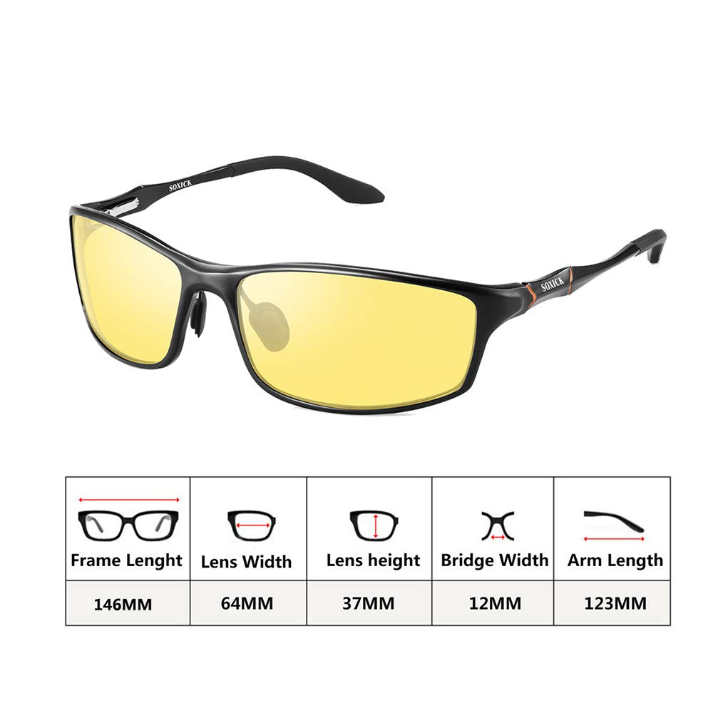 87fea45b3628 Amazon.com  Soxick Night Driving Polarized Glasses for Men Women Anti Glare  Rainy Safe HD Night Vision HOT Fashion Sunglasses  Sports   Outdoors