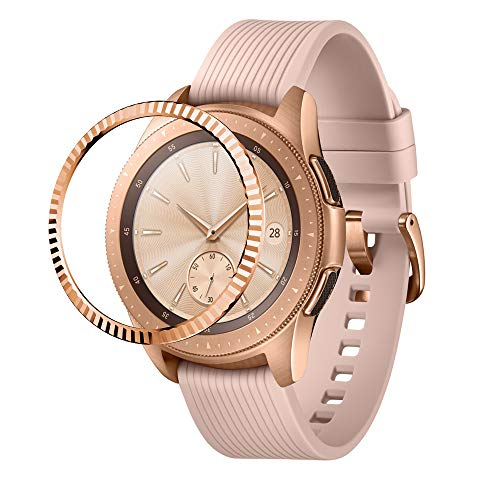 NotoCity Bezel Ring Compatible with Samsung Galaxy Watch 42mm/Gear Sport Watch Adhesive Cover Anti Scratch Stainless Steel Protection(Rose Gold-1)