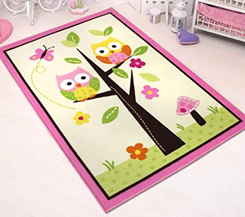 HUAHOO Kids Rugs Girl Bedroom Home Textile,Unique Cartoon Owl Carpet,Designer Pink Fairy Girls Rug for Living Room,Delicate Butterfly Kids Rug (Kids Rug 39''x56'') ()