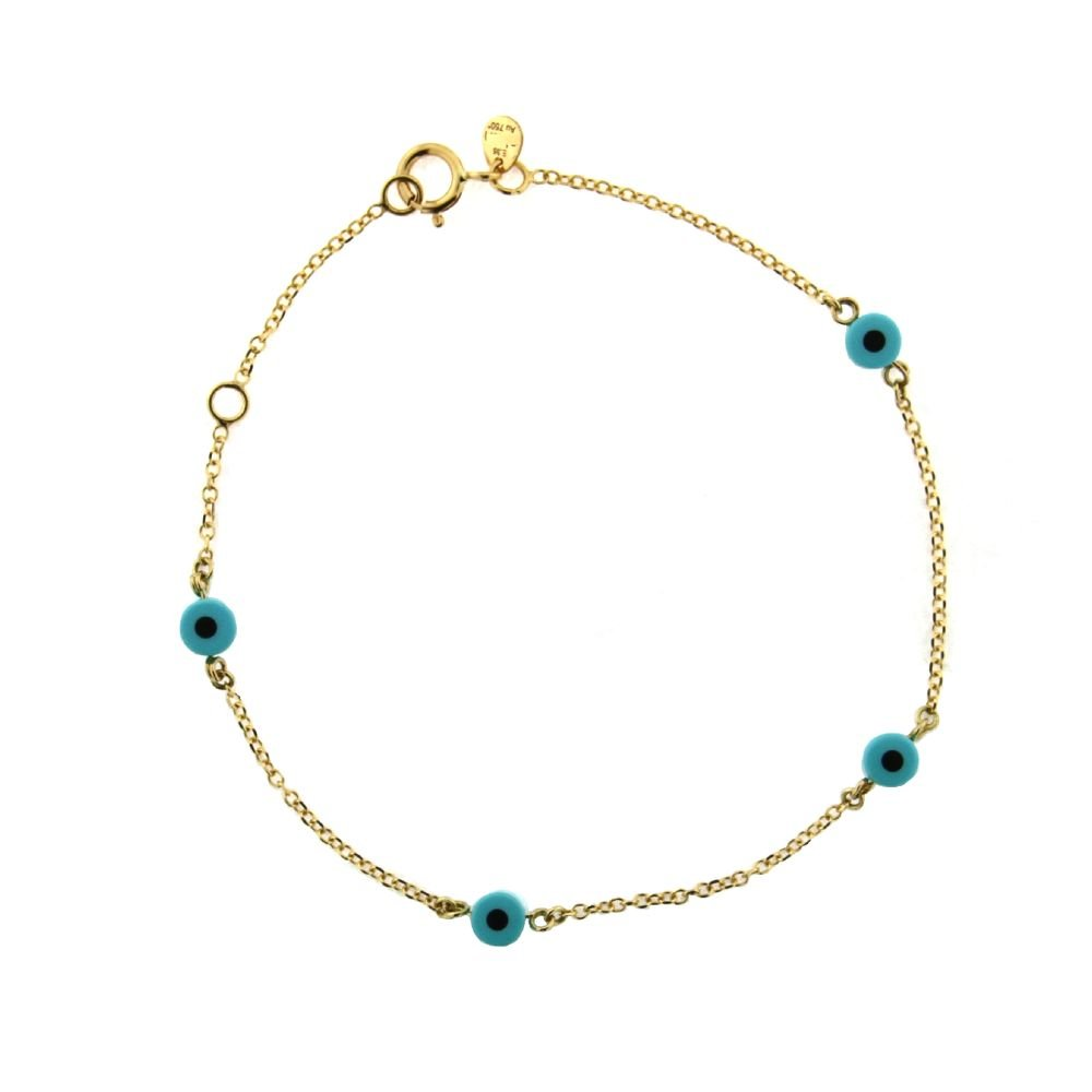 18K Yellow Gold blue eyes bracelet 6.50 inch with extra ring at 6 inches