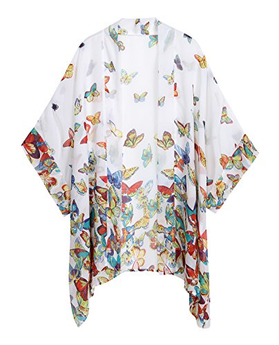 WEIYAN Women's Tops Loose Chiffon Kimono Cardigan Beach Swim Cover up Blouse(BF, ()