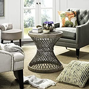 Safavieh Home Collection Grimson Grey Rattan Small Bowed Round Accent Table