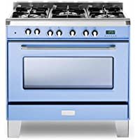Verona Classic VCLFSGE365BL 36 Dual Fuel Single Oven Range Convection Light Blue