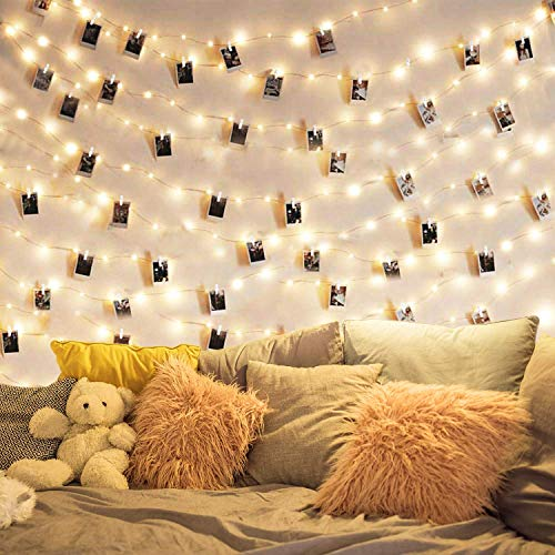 Dopheuor LED Photo Clip Copper String Lights Starry Fairy Warm White Lights Battery Powered for Hang Pictures Cards…