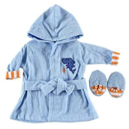 Luvable Friends Color Bath Robe with Slippers - Woven Terry in Blue