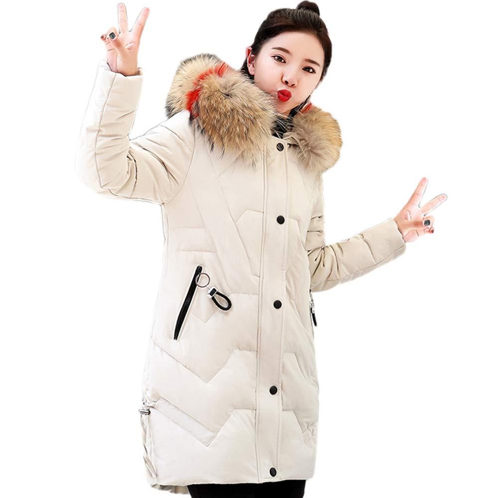 Beige GridNN Women 2 Front Pockets, Warm  for Wet Weather, WalkingThicker Fur Collar Cotton Parka Slim Jacket