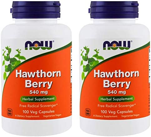 NOW Foods Hawthorn Berry 540 mg, 100 Veg Capsules Pack of 2