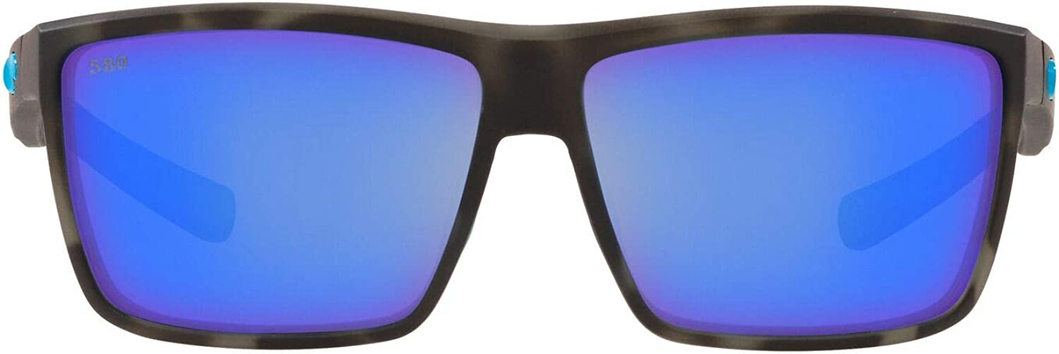 Rinconcito Rectangular Sunglasses, Ocearch Matte Tiger Shark/Grey Blue Mirrored Polarized, 60mm
