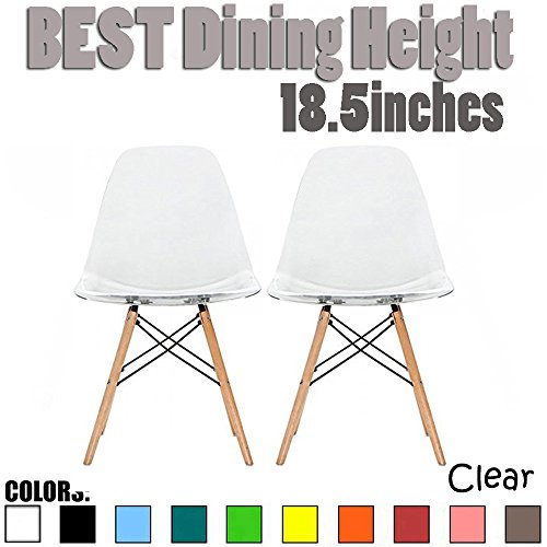 2xhome Set of 2 Clear Mid Century Modern Contemporary Vintage Molded Shell Designer Side Plastic Eiffel Chairs Wood Legs for Dining Room Living Office Conference DSW Desk Kitchen Comfortable ()