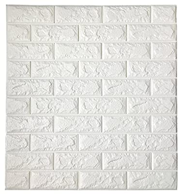 3D White Brick Tile Wallpaper, Waterproof Soundproof Self-adhesive Wall Sticker, Peel and Stick PE Foam Wall Paper Decor for Bedroom Living Room Background 31x27.6 Inch per Piece