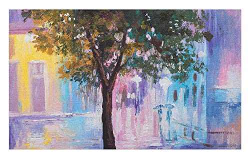 Lunarable Romantic Doormat, Abstract Impressionism Themed Oil Painting of Vivid Urban Street and Tree, Decorative Polyester Floor Mat with Non-Skid Backing, 30 W X 18 L Inches, Multicolor