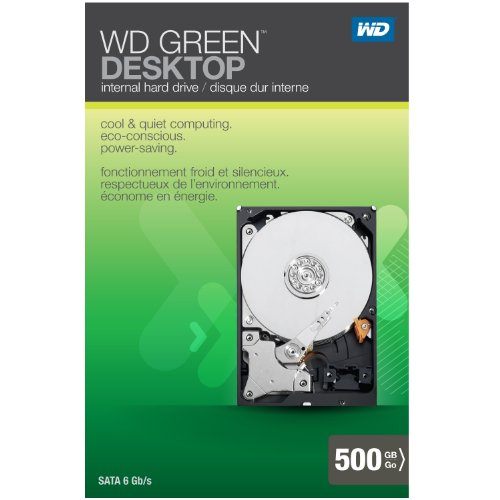 WD Green Desktop 500GB SATA 6.0 GB/s 3.5-Inch Internal Desktop Hard Drive Retail Kit -