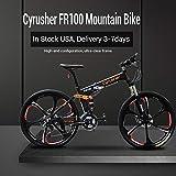 Cyrusher FR100 Folding Mountain Bike Full Suspension 24 Speeds Shimano Shifter with Aluminium Frame Disc Brake and Suspension Fork for Men