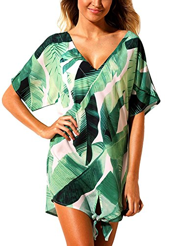 Green Beach Floral MIHOLL Up Beachwear Dark Dress Women Summer Neck Printed Loose V Cover xYEwrOEq