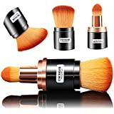 [Dual-ended]Foundation Makeup Brushes, Kabuki Blush Powder Brush, Premium Retractable Concealer Cosmetic Kit, Soft Synthetic Hair, Dry or Blending Liquid Cream Use