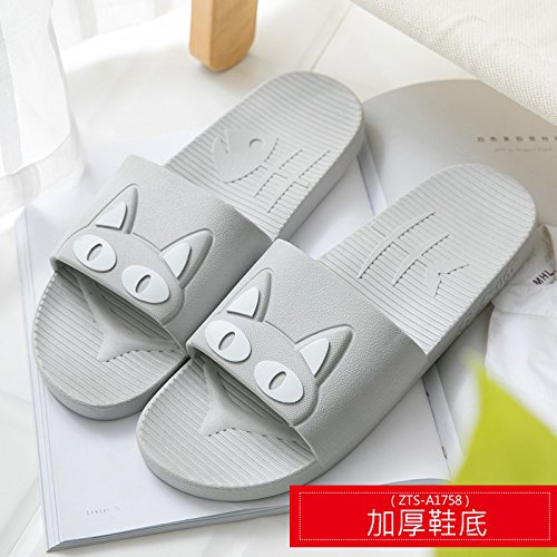fankou Slippers Women Indoor Summer Anti-Slip Home with Lovely Cartoon Couples Home Bath Bathroom Cool Slippers Male Summer,41-42, Gray White Cat (Thick)