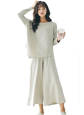 mujer algodón conjunto de pijamas señoras 2 piezas suave casual ropa de dormir , Macaron Green
