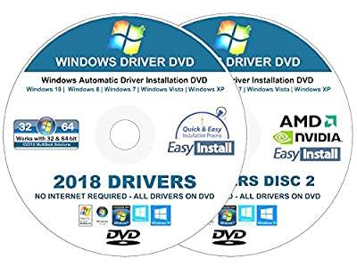 2018 Universal Driver Installation DVD For Windows 10, 8 -8.1, 7, Vista, XP – No Internet Needed To Install Drivers- Supports HP, Dell, Toshiba Gateway Acer Asus Lenovo Compaq, eMachines - 2 DISC Set