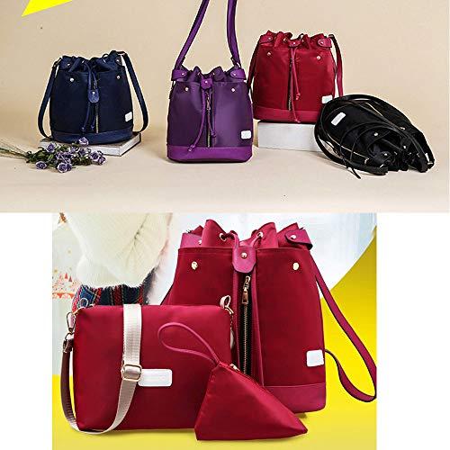 Red Purple Borsa Impermeabile Crossbody Pezzi Borsa Elegante Borsa In Nylon Tre Combinazione Zaino Versatile Fashion Mhxzkhl Cosmetica Casuale Multi Romantica Funzionale IqSgnwRHH