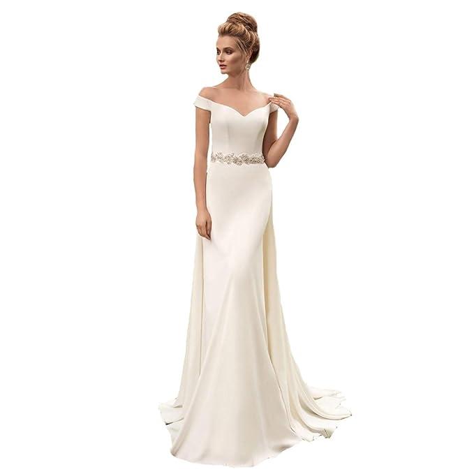 Engerla - Vestido de novia - ajustado - Básico - Manga Corta - Mujer Blanco blanco