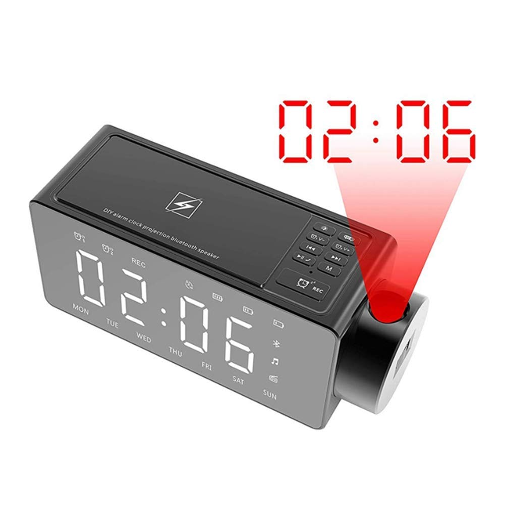 YL-light Projection Alarm Clock Bluetooth Speaker with Wireless Charging DIY Ringtone, Snooze One-Click, Bluetooth Call Speaker, Fm Radio, Sleep Timer, for Bedroom, Office,Black by YL-light