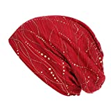 Suma-ma 5 Colors Women's Elastic Diamond Muslim Headscarf Chemical Cap Hat Turban Hat (Black,Coffee,Navy,Red,White) (Red)