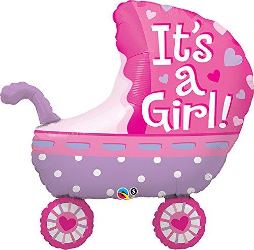 Qualatex Foil Balloon 043289 It's A It's A Girl Baby Stroller, 35