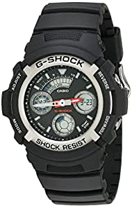 Casio Men's AW590-1AVCF G-Shock Black and Silver-Tone Analog Digital Watch