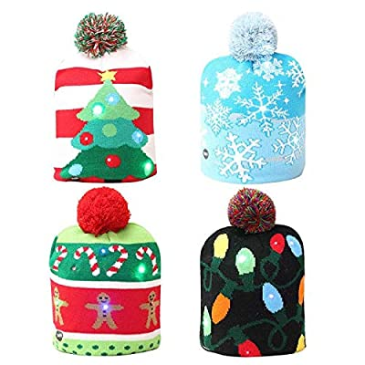 Christmas Hats - 2018 Funny Led Knitted Christmas Hat Kids Adults Warm Year Decoration Party Tree Snowflake - Children Trucker Adults To Sports Up Party For Cats Kids