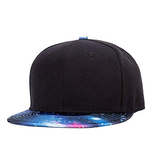 Quanhaigou Classic Galaxy Adjustable Baseball Caps, Men's Hip Hop Snapback Flat Bill Brim Hats