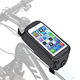 "FlexDin Bike Frame Bag, Bicycle Top Tube Pannier Bag, 6.3"" Waterproof Touchscreen Cell Phone Mount Holder for Mountain Bike Accessories - Grey"